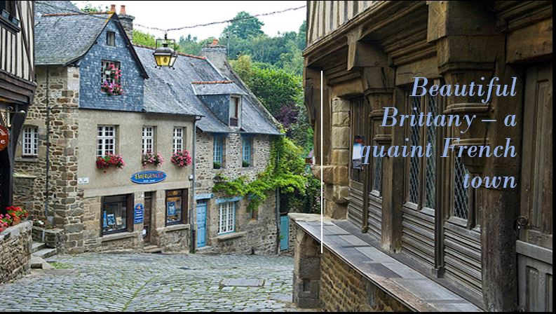 Brittany in France - cobbled street lined with quaint houses