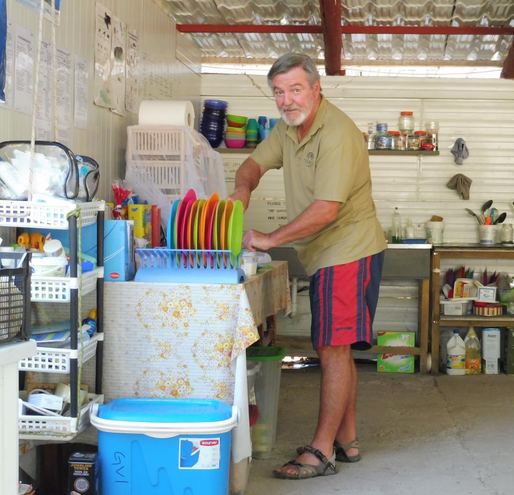 Man in camp kitchen