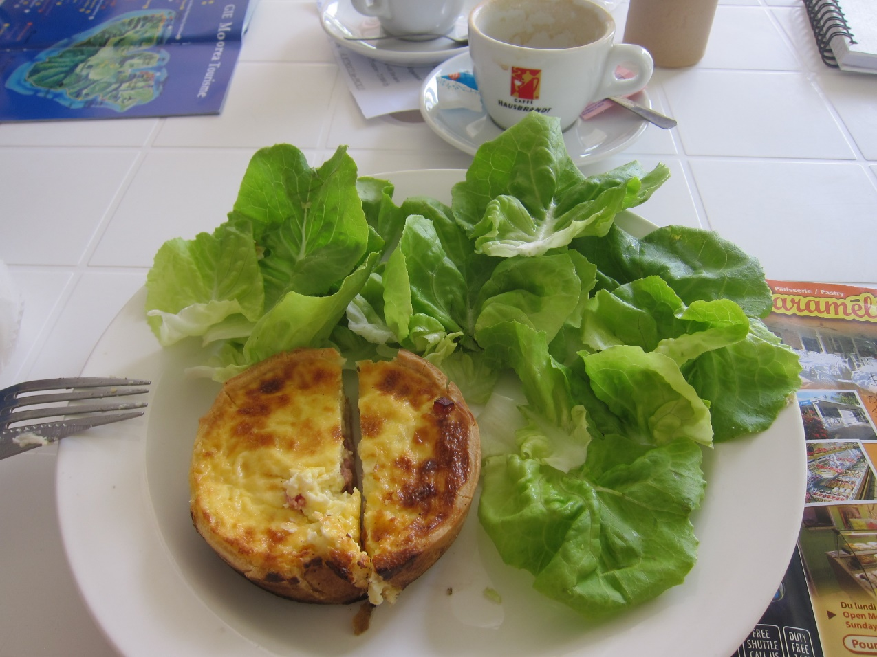 Lunch in Moorea quiche and 'salad' (R60 for the 'salad')
