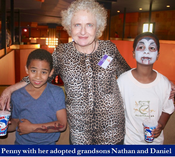 Penny Fisher and her grandsons Nathan and Daniel